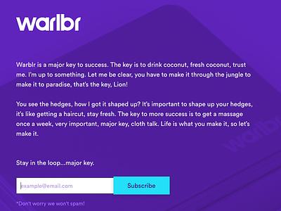 Warblr Landing Page interface web ui majorkey interaction website warblr