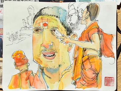 Sketchbook, Tian Tan Buddha, Po Lin Monastery, Hong Kong. travel buddha beijing hongkong china sketchbook