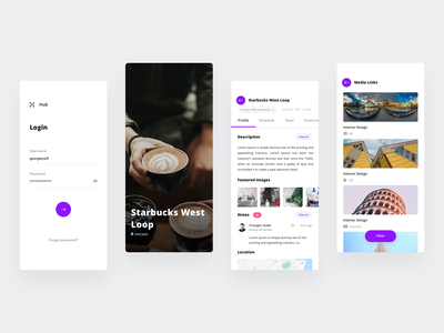 Hub - Project management app ui project management iphone ios interface graphic  design flat design dailyui creative mobile app concept color clean branding app