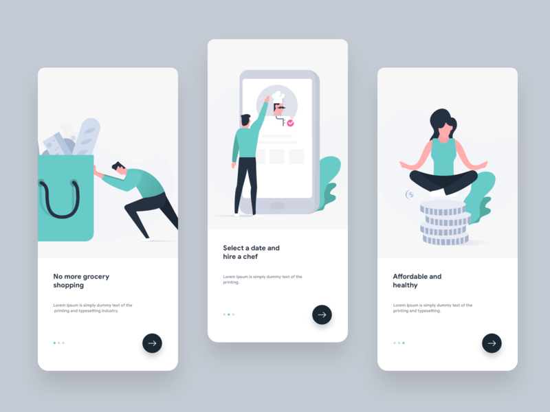 Onboarding screen for Chef app illustration ui vector character design clean creative walkthrough welcome design chef onboarding