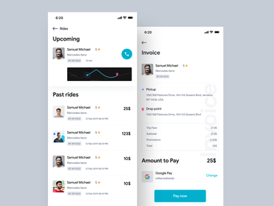 Your Rides & Invoice page driver mobile app design payment trips invoice design cab taxi app app branding ux ui design
