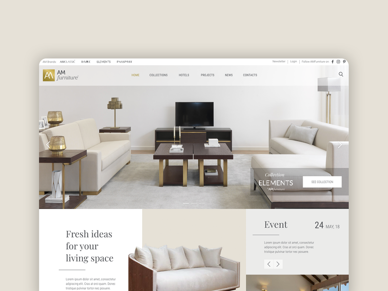 Furniture company homepage website design proposal modular modern furniture homepage ux ui interface design design
