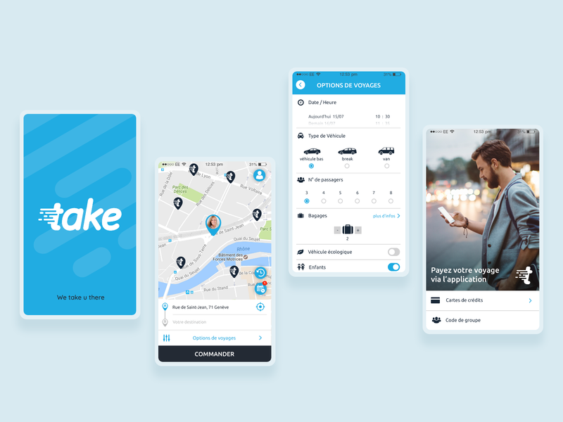 Take - ride hailing app motion ios application blue taxi screens mobile geneve driver app user interface interface design ux ui