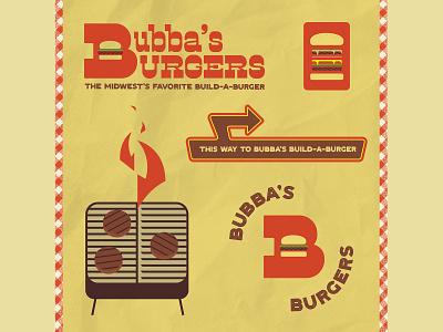 36 Days 2021-B sign retro illustration midwest bubbas grill branding