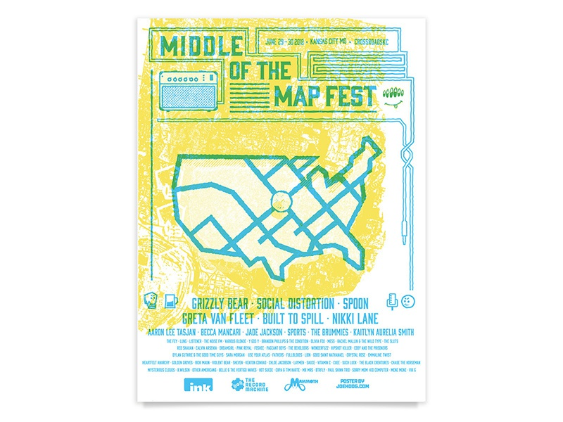 Middle of the Map Fest face speaker grizzly bear spoon band poster gig poster show poster festival local music