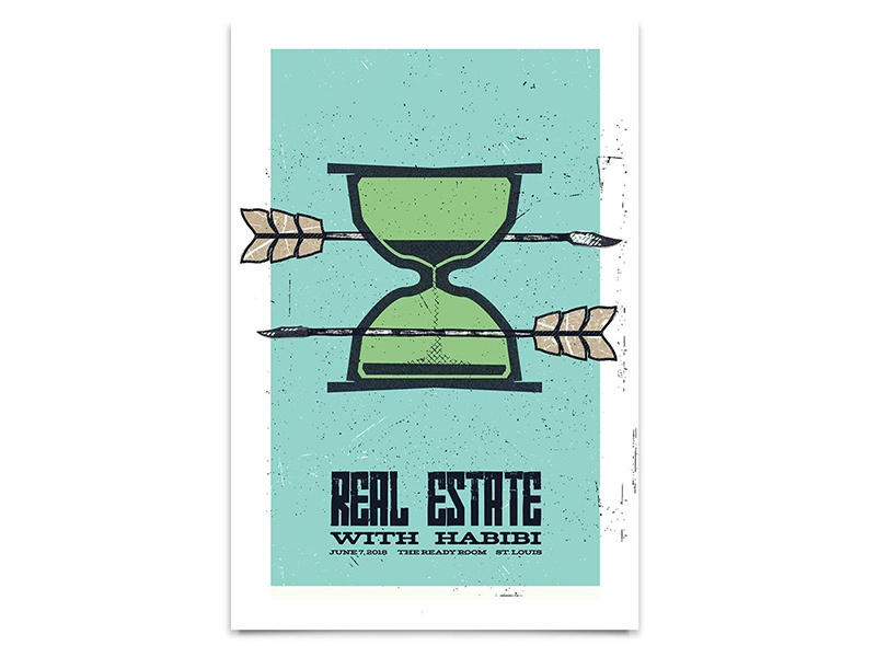 Real Estate Gig Poster real estate type texture arrow hour glass screen print poster band poster show poster gig poster