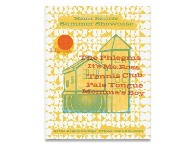 Manor Records Summer Showcase multiplication type texture summer house screen print poster band poster show poster gig poster