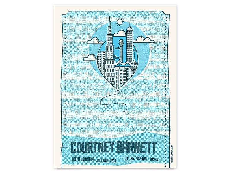 Courtney Barnett Gig Poster guitar vagabon courtney barnett kansas city city screen print poster band poster show poster gig poster