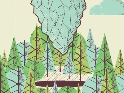 Snippet multiplication screen print print art print gig poster halftone cloud forest trees iceberg texture