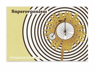 Superorganism Poster pattern radial printmaking print screen print metallic gold flower bike poster gig poster