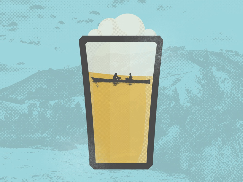 Float trip float trip river mountains glass canoe beer