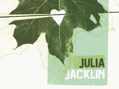 Julia Jacklin band poster texture leaves leaf poster screen print printmaking gig poster julia jacklin