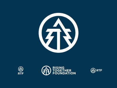 Rising Together Foundation up education mentoring organization nonprofit monoline simple icon branding badge circle r t tree arrow rise foundation together rising