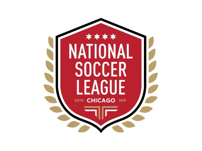 National Soccer League Chicago football futbol logo branding wings wreath eagle red star feathers soccer badge sports league national chicago soccer crest crest soccer