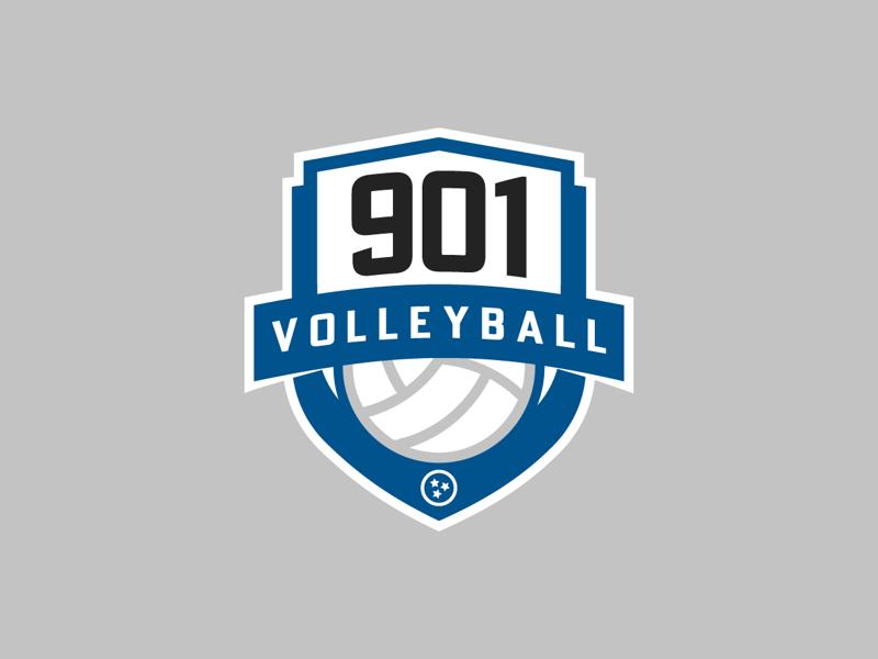 901 Volleyball Crest design branding brand simple modern blue tristar sports badge logo volleyball crest memphis 901