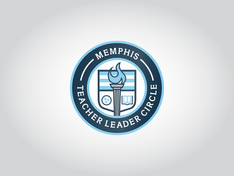 Memphis Teacher Leader Circle Logo brand stripe navy blue flame goblet book education school shield crest badge logo circle leader teacher memphis