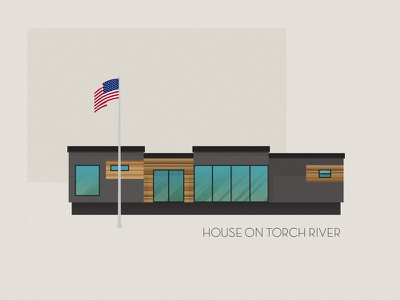 House on Torch River illustration drake-evans.com michigan