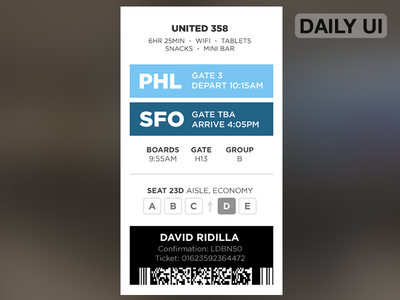 DailyUI - Boarding Pass pass boarding ux ui dailyui