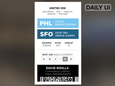 DailyUI - Boarding Pass