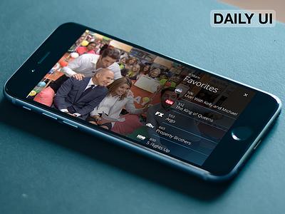DailyUI - TV App ( Favorite Channels ) app tv ux ui dailyui