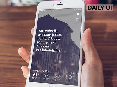 DailyUI - 037 - Weather heather weather app ux ui dailyui