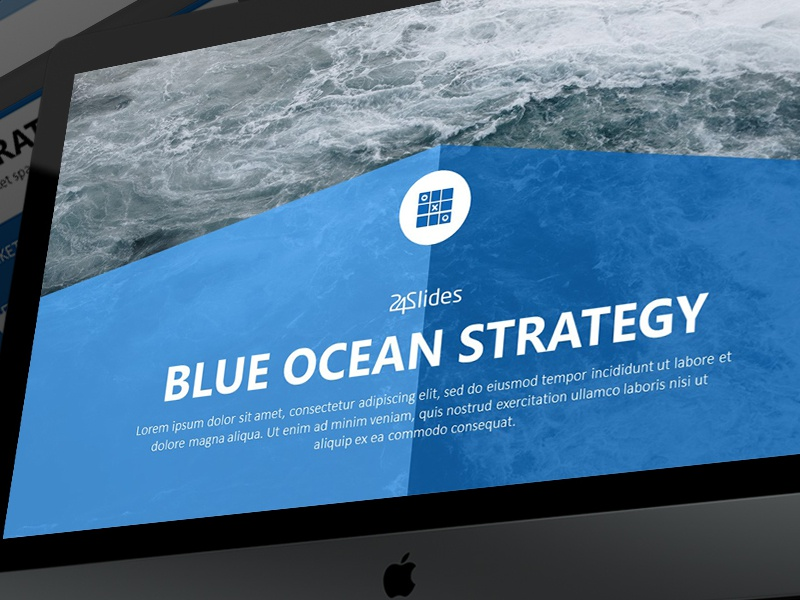 blue ocean strategy powerpoint template free download by 24slides