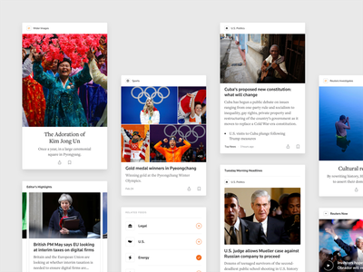Reuters News Cards feed mobile news reuters personalized real news cards design system