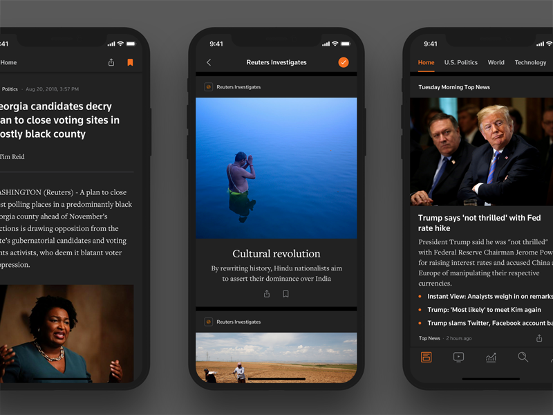 Reuters News Night Mode real news news reuters dark mode feed cards personalized mobile