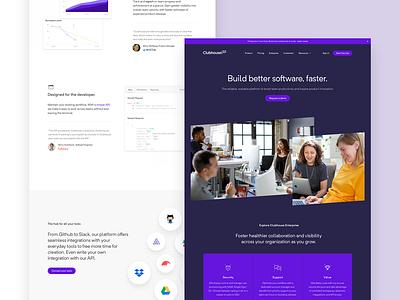 Clubhouse - Build better software, faster. enterprise marketing saas tech flag desktop lightweight gatsby
