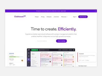 Clubhouse - Homepage tech kanban flag desktop lightweight gatsby marketing saas