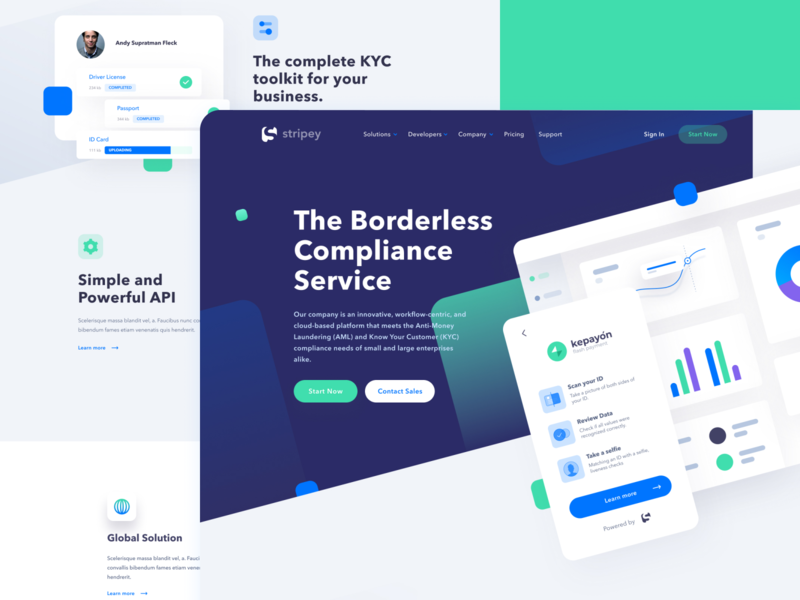 Stripey Landing Page aml minimal blue green web uiux identification payment web web design clean ui design scanning verification dashboard figma stripe compliance kyc