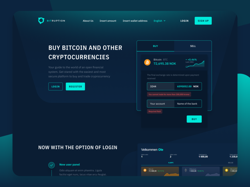Bitruption Homepage redesign dark mode crypto exchange bitcoin dashboard buy crypto dark charts bitcoin services green crypto dark ui crypto web design figma