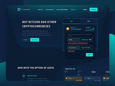 Bitruption Homepage redesign dark mode crypto exchange bitcoin dashboard buy crypto dark charts bitcoin services green crypto dark ui crypto web design figma