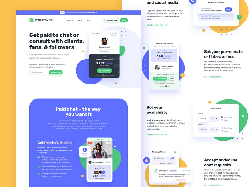 Premium.Chat web design proposal blob ui video chat paid chat chat web ui design minimal web design landing page clean figma