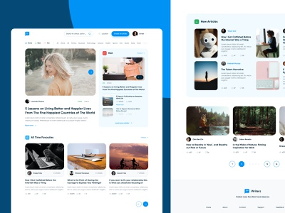 Writerz-Collect news from first-hand observer. visual design uiux newsportal medium whitespaces clean ui thumbnails news page publisher articles page landing page blue web web design ui design figma