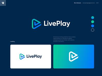LivePlay logo design brand identity logomarks app logo gradient logo blue green logo visual identity marks logo designer clean logo modern logo play logo lp logo lp negative space logo design logo