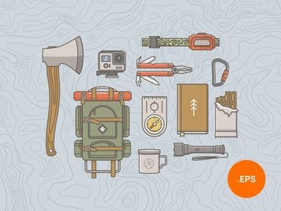 What to Bring on a Hike flat icons contour 2018 freebies outdoor set illustration gear hiking icons adventure vintage