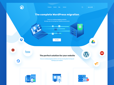 WordPress migration header illustration illustration icon design ui design migration wordpress blue web web design landing page isometric