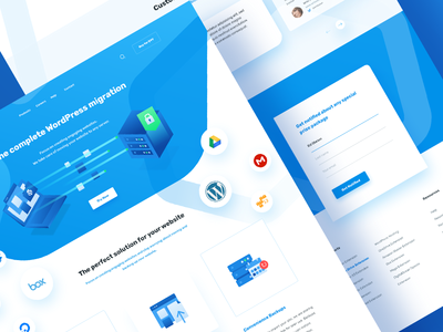 A WordPress migration website - Full hexagonal compress ui design migration backup icon design wordpress clean blue website isometric icon isometric web landing page web