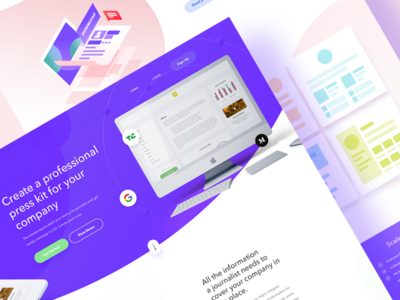 Media kit landing page price landing page clay isometric web isometric icons presskit mediakit purple landing page clean web design