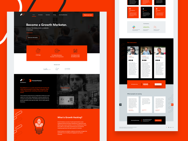 Growth Marketer Landing Page clean web minimal website landbook bootcamp growth marketer orange web design ui design landing page