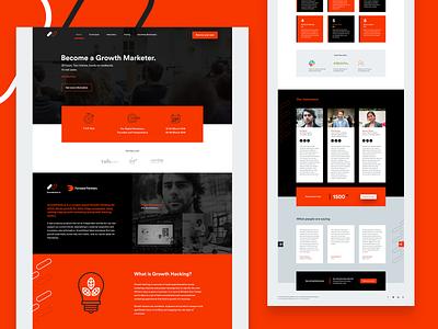Growth Marketer Landing Page clean web minimal website landbook bootcamp growth marketer orange web design ui design landing page