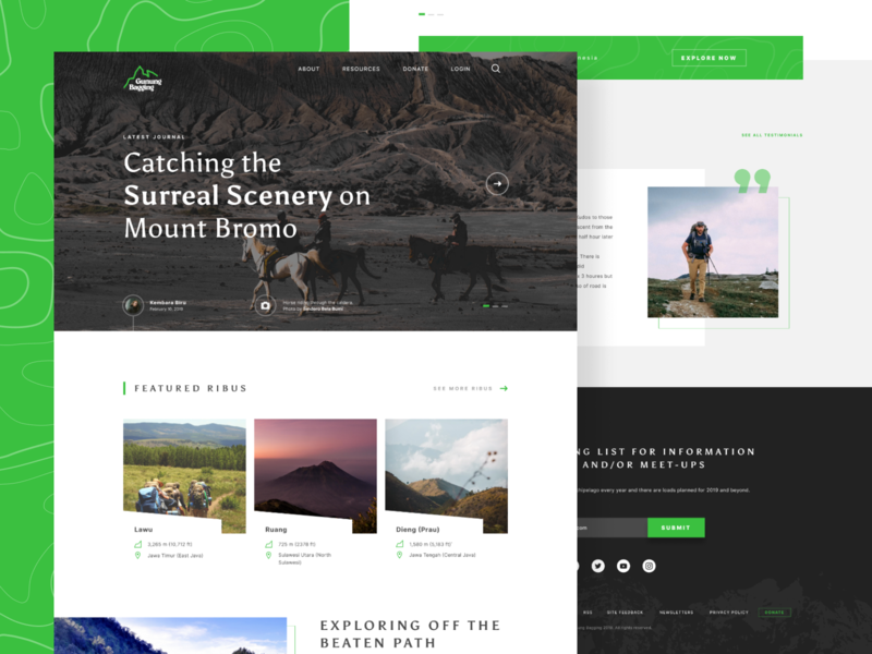 Gunung Bagging - Redesign - Unofficial figma grid travel web  design adventure landing page green ui minimal clean website adventure design hike web hiking web outdoors nature