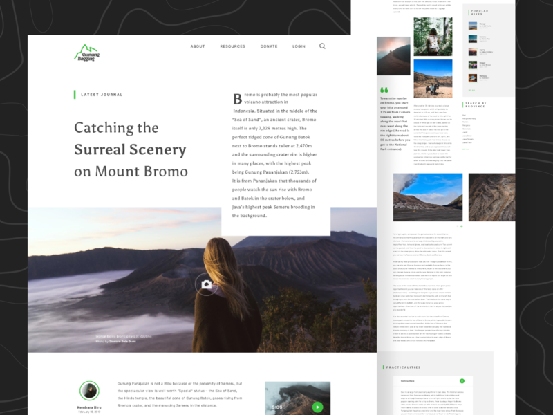 Gunung Bagging - Redesign (Unofficial) - Article Page typography whitespace nature website indonesia travel app travel website figmadesign figma travel minimal clean patagonia outdoors hike hiking web journal article page landing page adventure