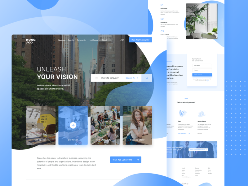 KONG/CO- Affordable rent slot and retail space Website figma sketchapp blue web office interior minimal simple architecture agency icons typography co-working space blue design web design ui design clean landing page