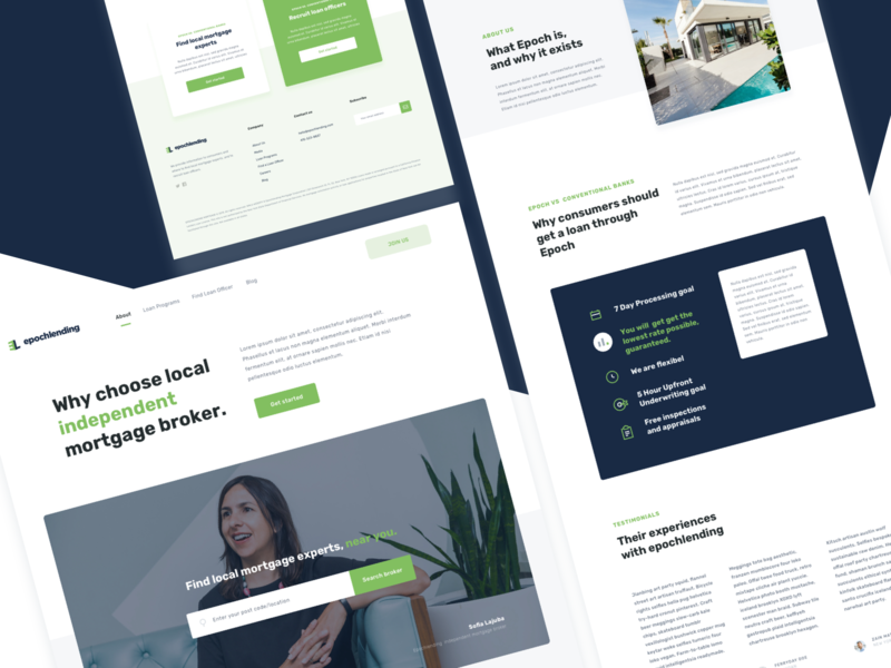 Corporate Mortgage Landing Page - Design Proposal green ui agent broker loan house loan web mortgage page green web figma sketchapp interior minimal simple architecture icons typography design web design ui design clean landing page