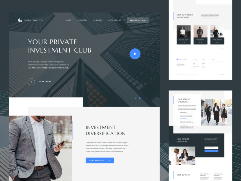 Investment Landing Page advisory sketchapp capital team business web minimal clean big type web design figma ui design landing page investment