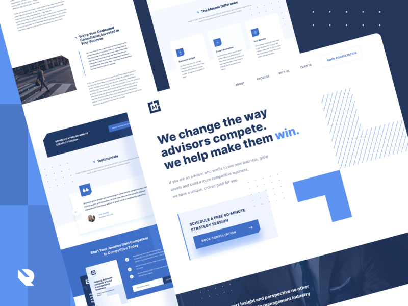 Landing page design proposal for  a Financial advisors company. typogaphy grid ux elegant concept business web advisor big type ui design blue web web design clean minimal figma ui design landing page