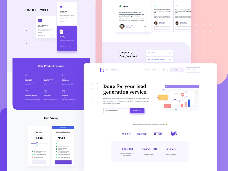 Productized business landing page. lead generation productized purple ui pricing testimonials purple ui typography minimal figma clean ui design landing page