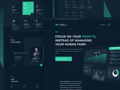 Weljos Crypto Mining Management Landing Page-Design Exploration icons clean figmadesign dark website cart dark dashboard cryptocurrency green web bitcoin dark crypto dark web crypto figma minimal ui design landing page